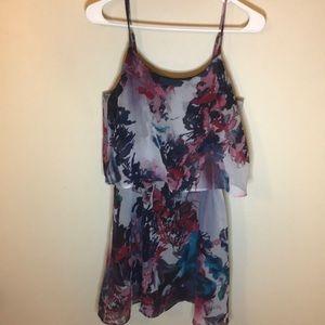 Floral print dress multi watercolor flouncy top